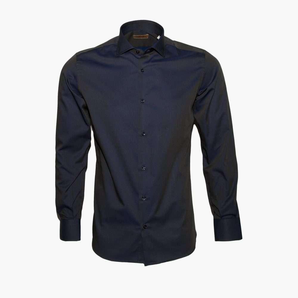 Foto Camicia-da-uomo-blu-Abisso-alta-sartoria-Made-in-Italy-100%-cotone-tessuto-Fil-a-Fil-semi-slim-fit-collo-francese-1