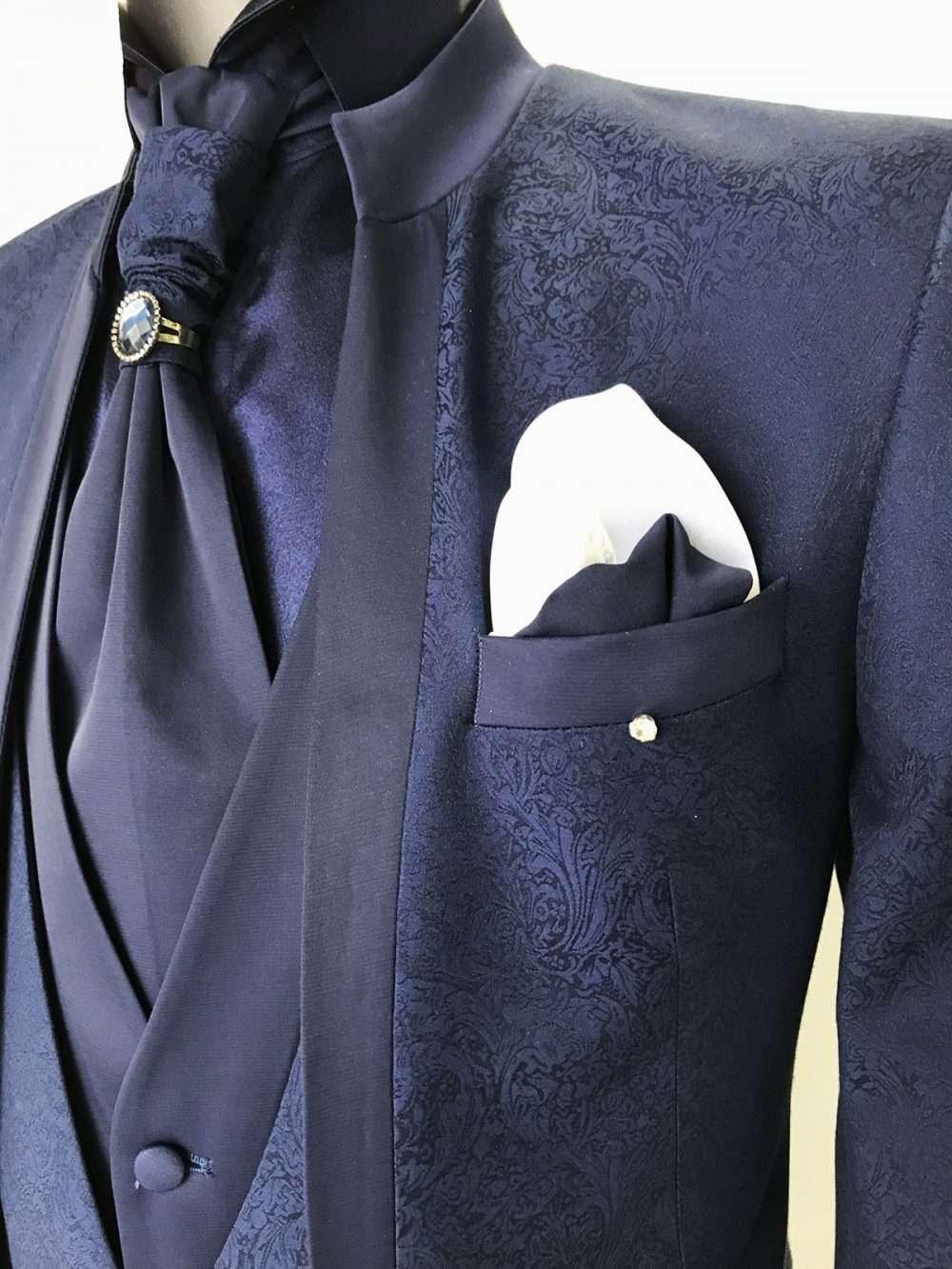 foto Abito da Sposo collo coreano tessuto damascato modello slim fit Giulio