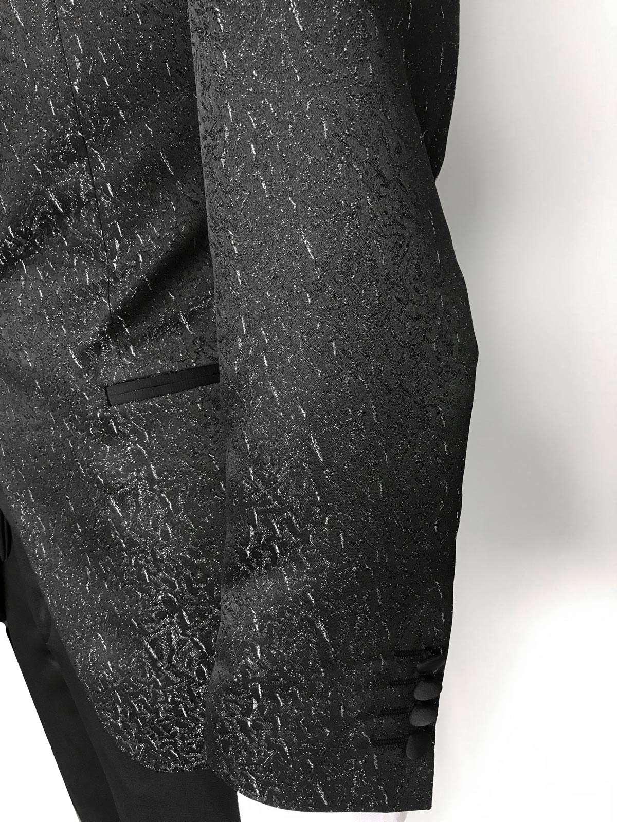 Abito da Sposo giacca coreana tessuto damascato modello slim fit cinque bottoni