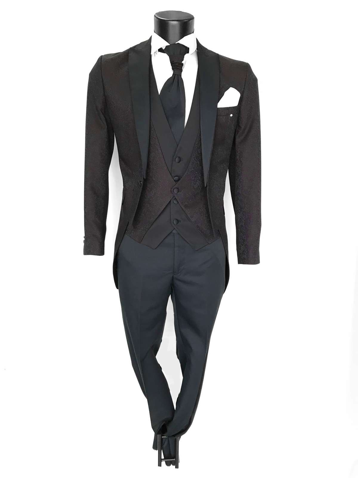 foto Abito da Sposo modello tigh tessuto damascato vestibilità slim fit Alex