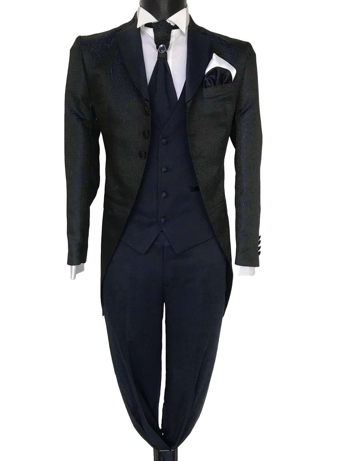 foto Abito da sposo modello Frack vestibilita slim fit 3 bottoni tessuto damascato blu scuro