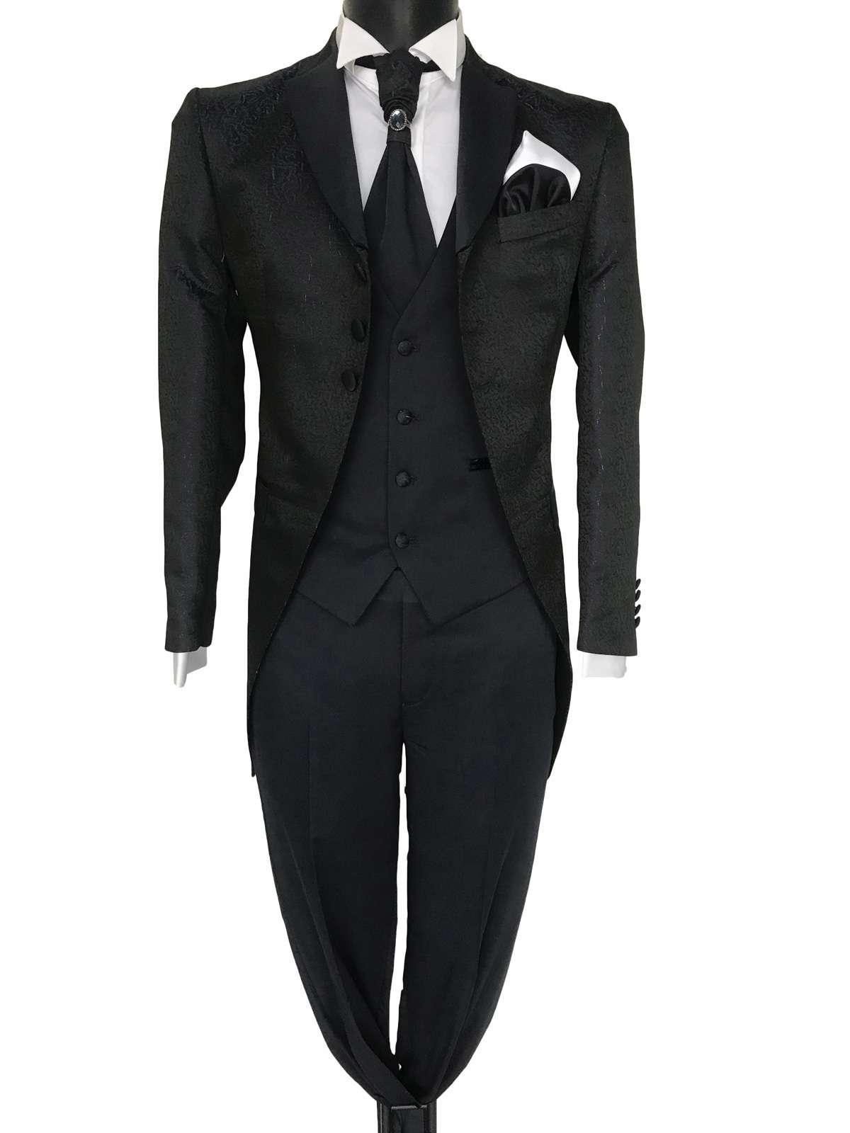 foto Abito da sposo modello Frack vestibilita slim fit 3 bottoni tessuto damascato nero Frankie