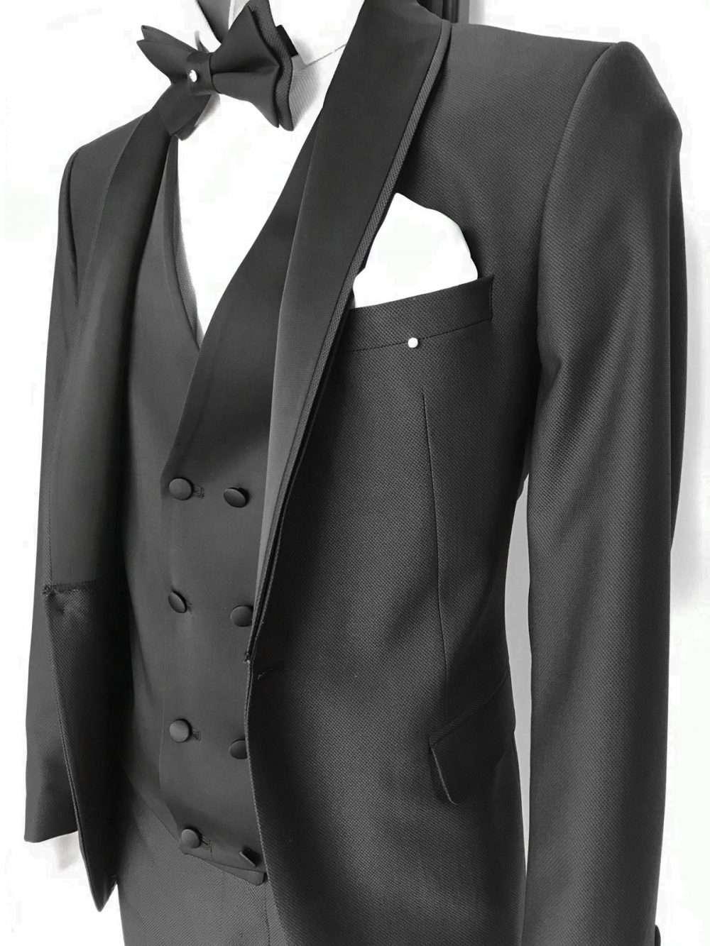 foto Abito da sposo collo sciallato vestibilità slim fit gilet doppio petto Philippe colore nero
